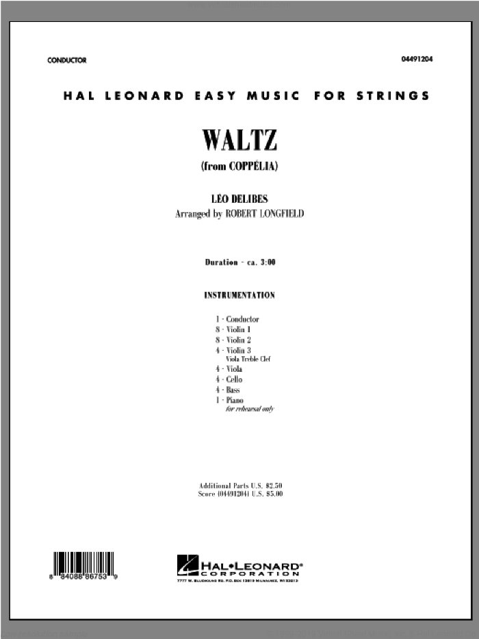 Waltz (from Coppelia) (COMPLETE) sheet music for orchestra by Leo Delibes and Robert Longfield, classical score, intermediate skill level