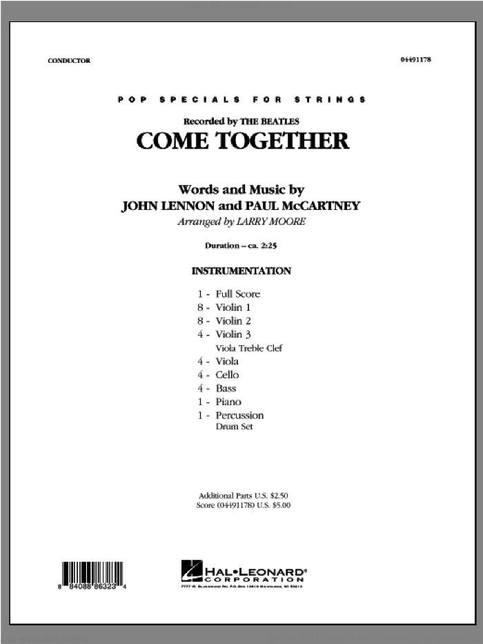 Come Together (COMPLETE) sheet music for orchestra by The Beatles and Larry Moore, intermediate skill level