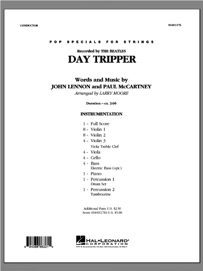 Day Tripper (COMPLETE) sheet music for orchestra by The Beatles and Larry Moore, intermediate orchestra. Score Image Preview.