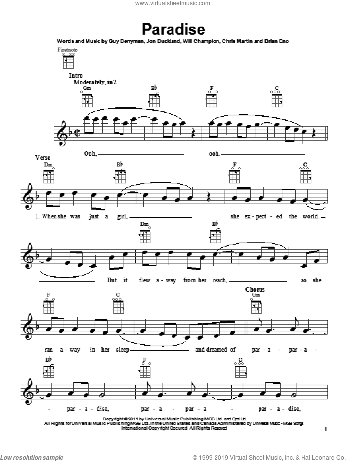 Paradise sheet music for ukulele by Coldplay. Score Image Preview.