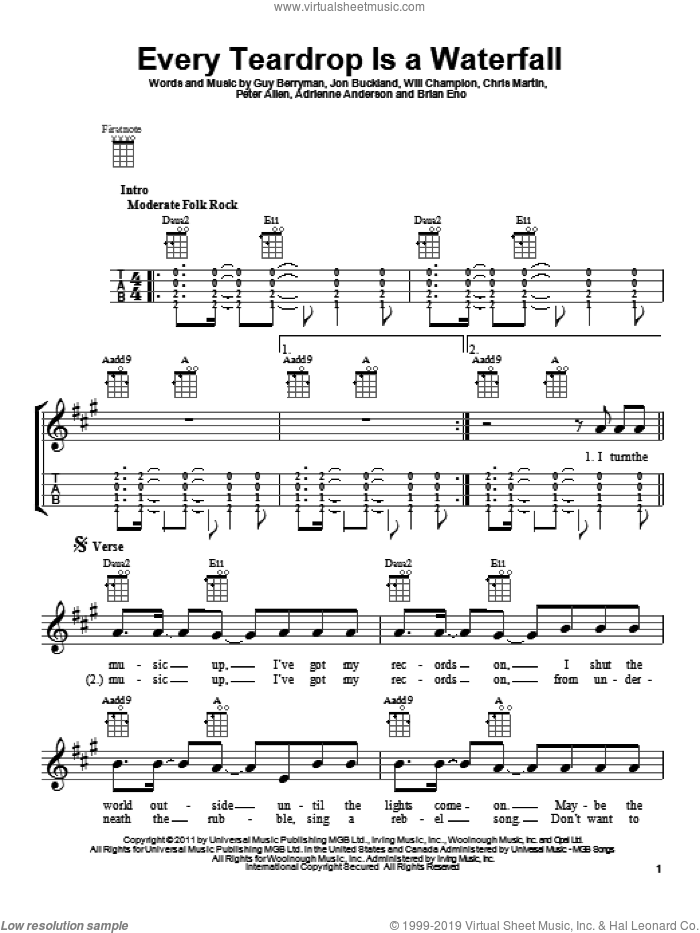 Every Teardrop Is A Waterfall sheet music for ukulele by Coldplay, intermediate ukulele. Score Image Preview.