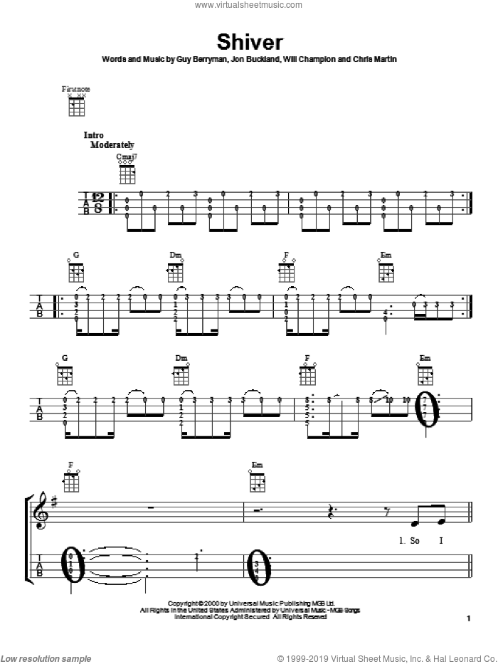 Shiver sheet music for ukulele by Coldplay. Score Image Preview.