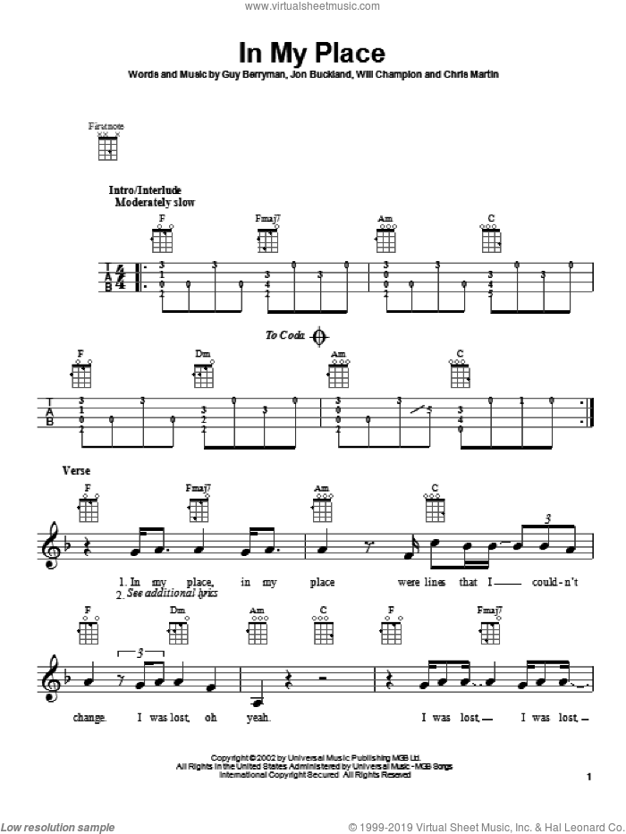 In My Place sheet music for ukulele by Coldplay. Score Image Preview.