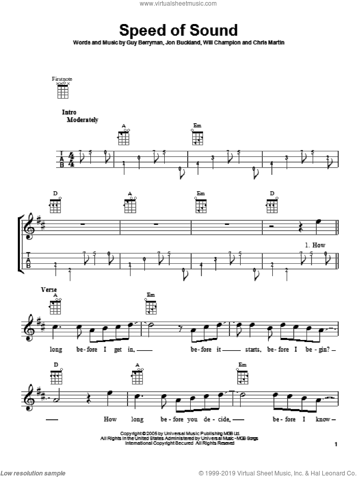 Speed Of Sound sheet music for ukulele by Coldplay. Score Image Preview.