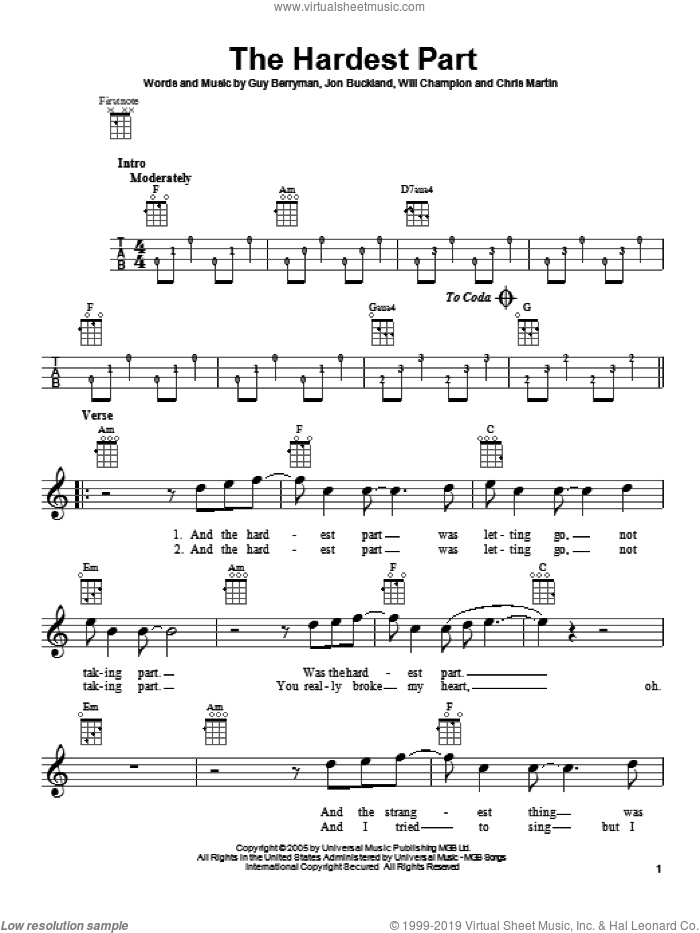 The Hardest Part sheet music for ukulele by Coldplay, intermediate skill level