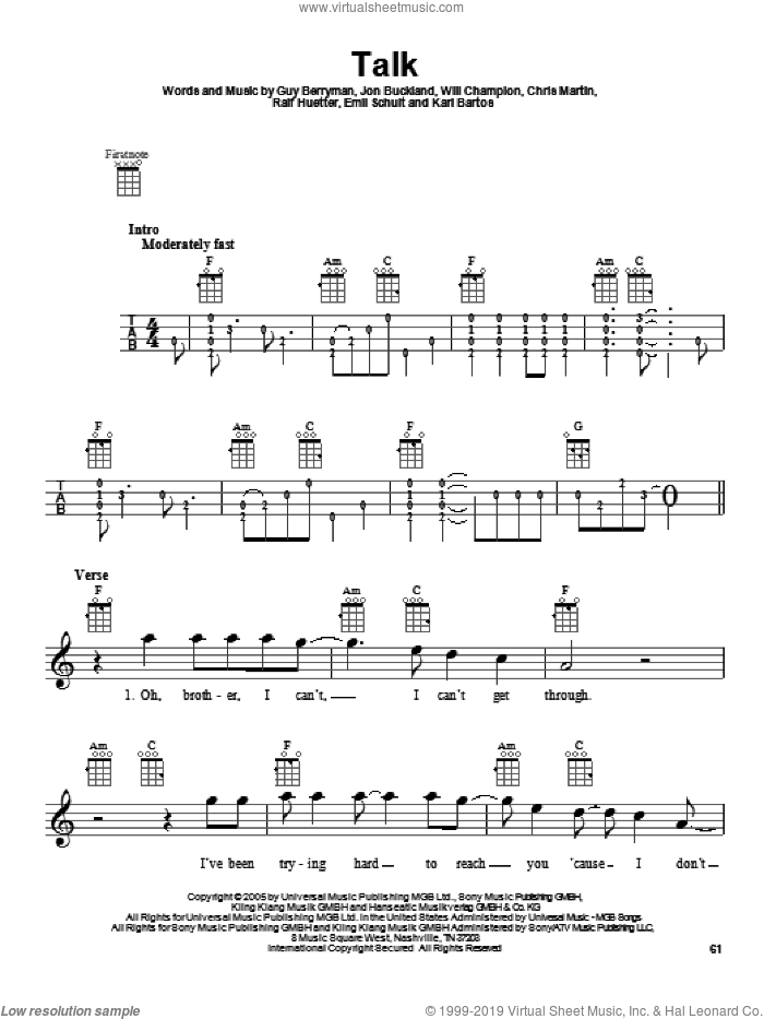 Talk sheet music for ukulele by Coldplay, intermediate skill level