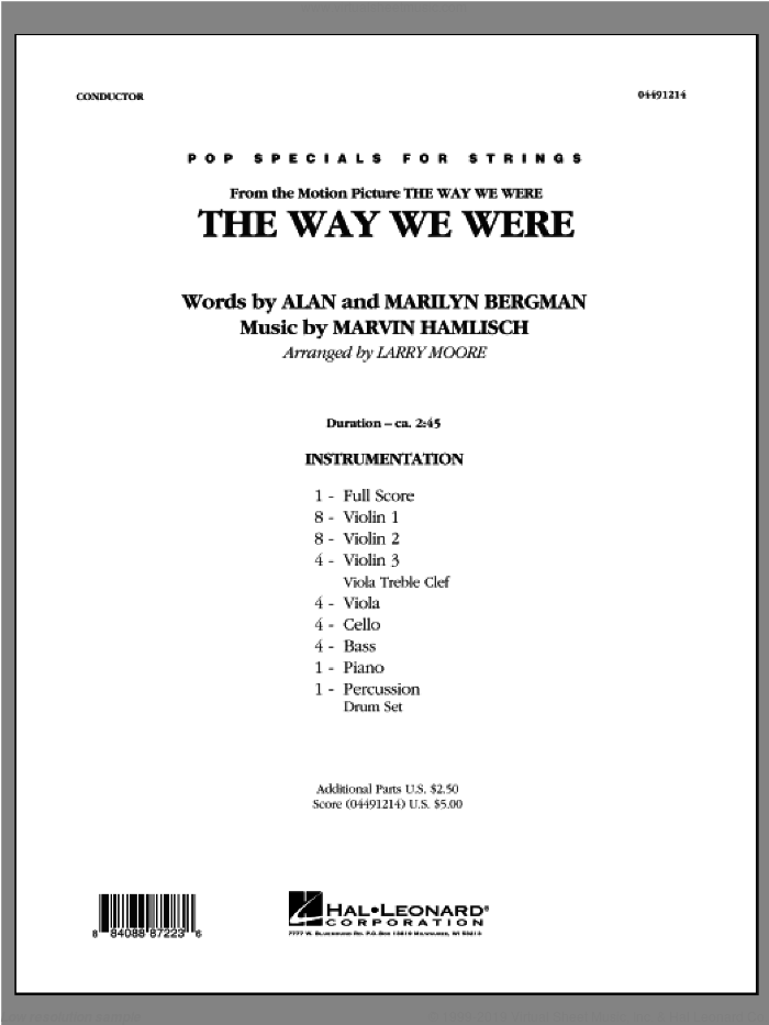 The Way We Were (COMPLETE) sheet music for orchestra by Marvin Hamlisch, Alan Bergman, Marilyn Bergman and Larry Moore, intermediate skill level