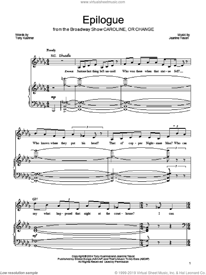 Epilogue sheet music for voice, piano or guitar by Tony Kushner and Jeanine Tesori. Score Image Preview.