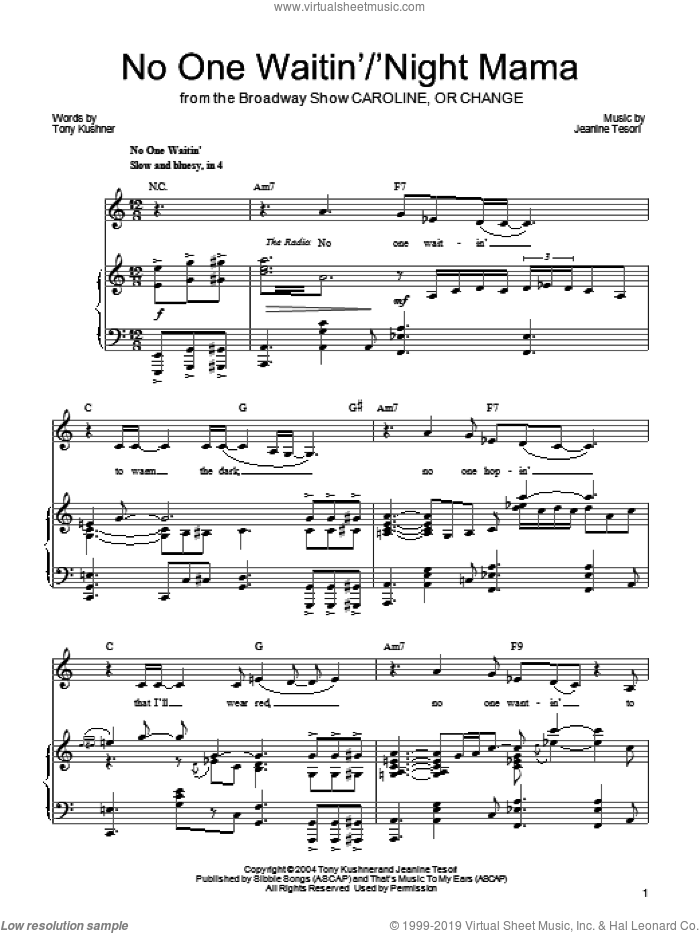 No One Waitin'/'Night Mamma sheet music for voice, piano or guitar by Jeanine Tesori and Tony Kushner. Score Image Preview.