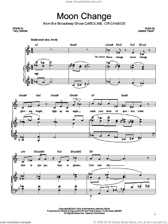 Moon Change sheet music for voice, piano or guitar by Jeanine Tesori. Score Image Preview.
