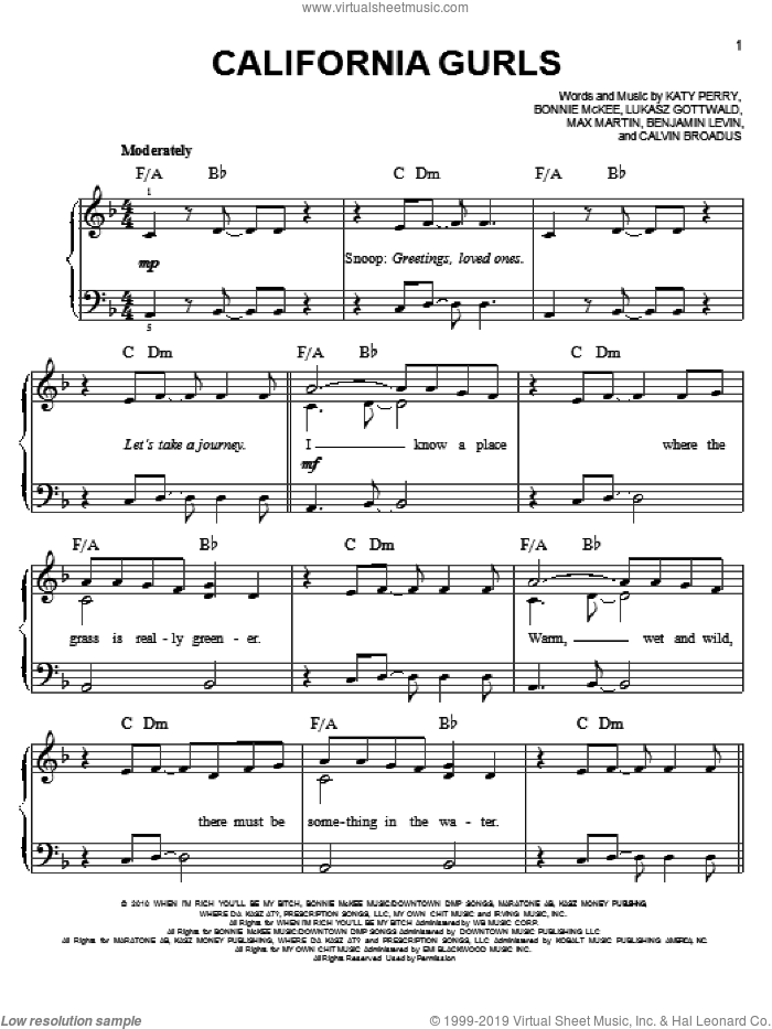 California Gurls sheet music for piano solo by Katy Perry and Snoop Dogg, easy piano. Score Image Preview.