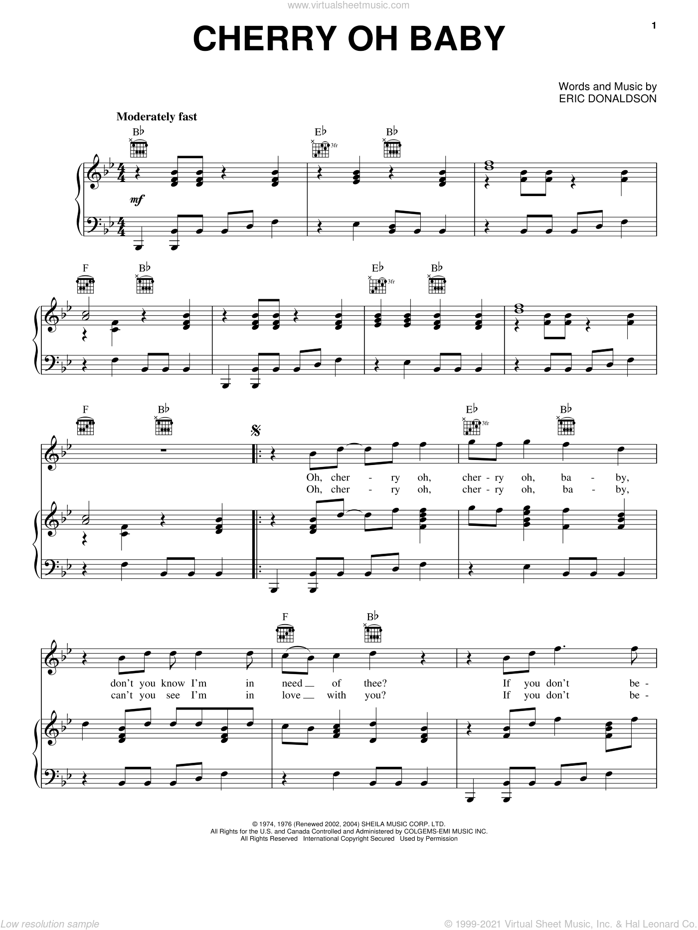 Cherry Oh Baby sheet music for voice, piano or guitar by Eric Donaldson and The Rolling Stones. Score Image Preview.
