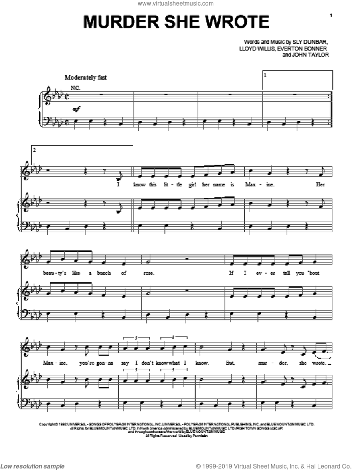 Murder She Wrote sheet music for voice, piano or guitar by Chaka Demus & Pliers, intermediate skill level