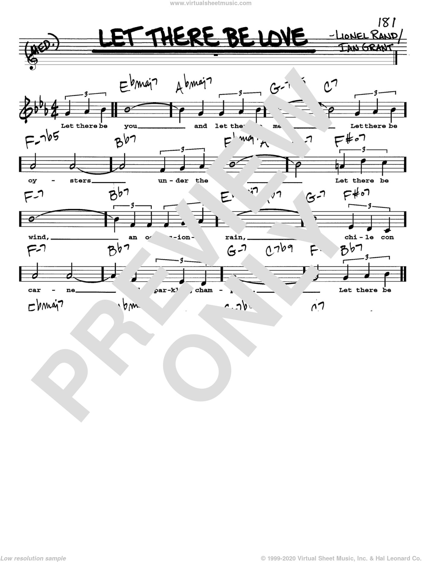 Let There Be Love sheet music for voice and other instruments (Vocal Volume 2) by Ian Grant, intermediate. Score Image Preview.