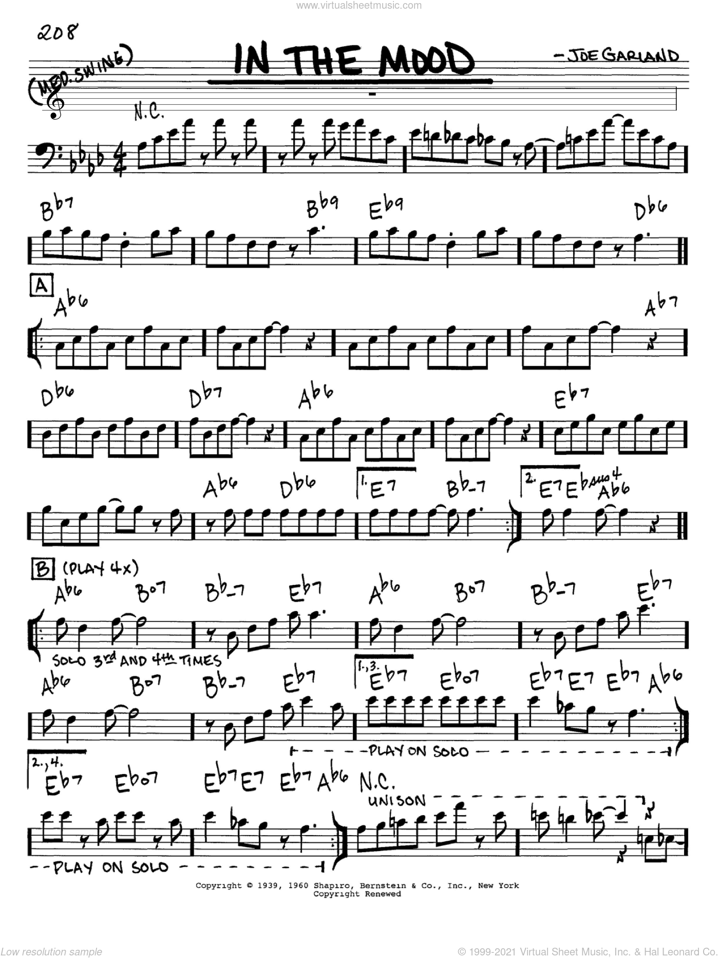 In The Mood sheet music for voice and other instruments (Bass Clef ) by Joe Garland
