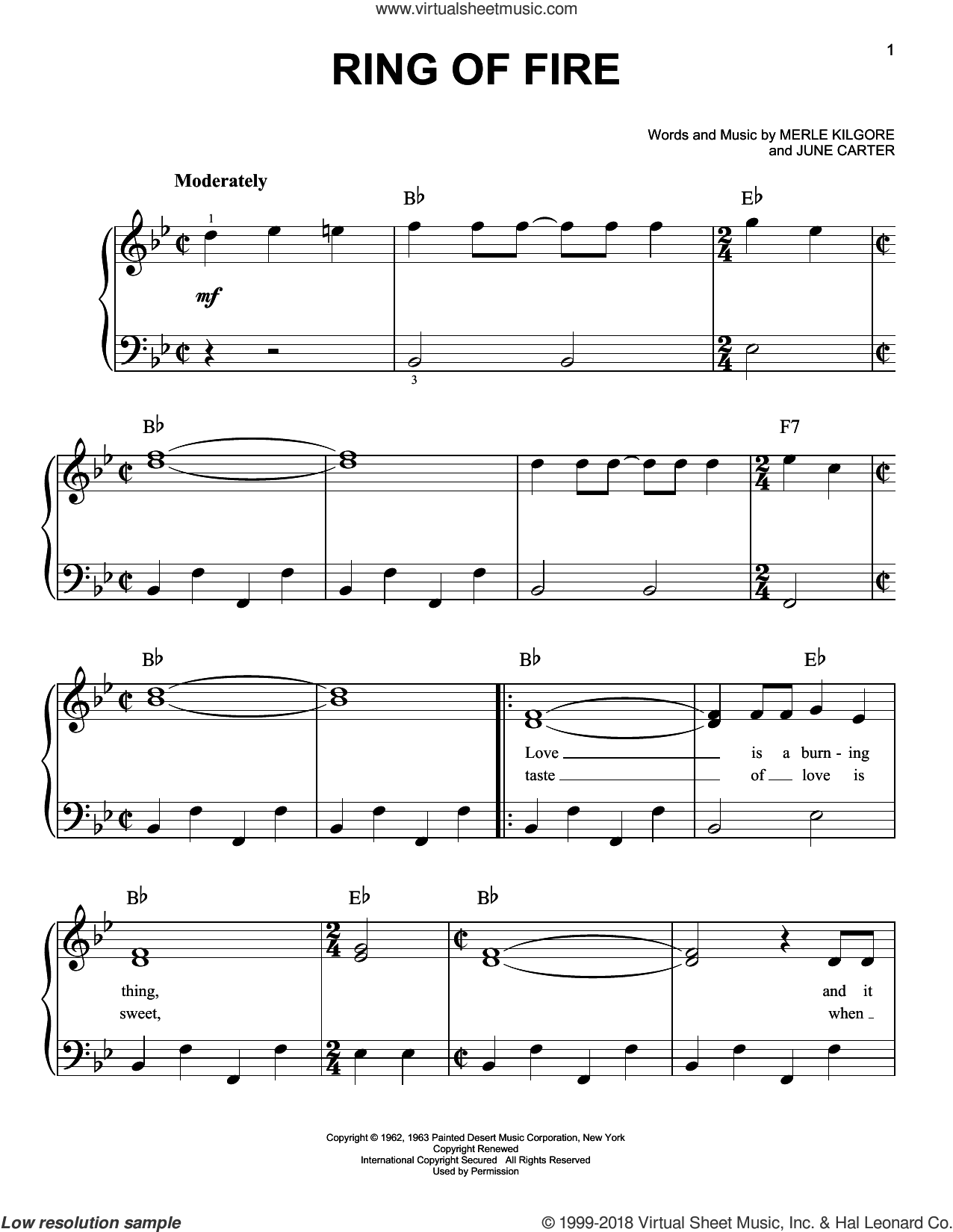 Ring Of Fire sheet music for piano solo by Merle Kilgore, Johnny Cash and June Carter. Score Image Preview.