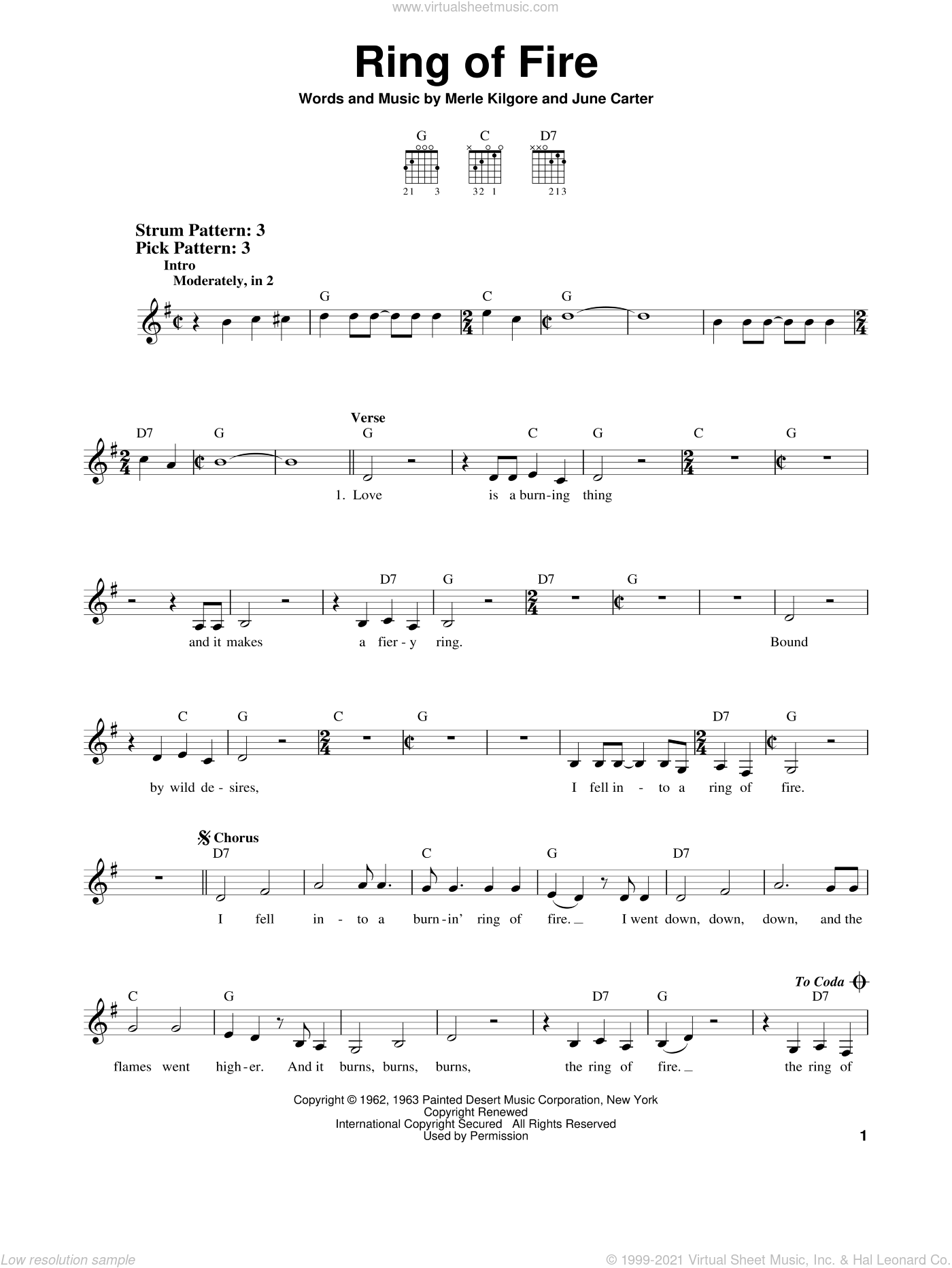 Ring Of Fire sheet music for guitar solo (chords) by Johnny Cash, June Carter and Merle Kilgore, easy guitar (chords)