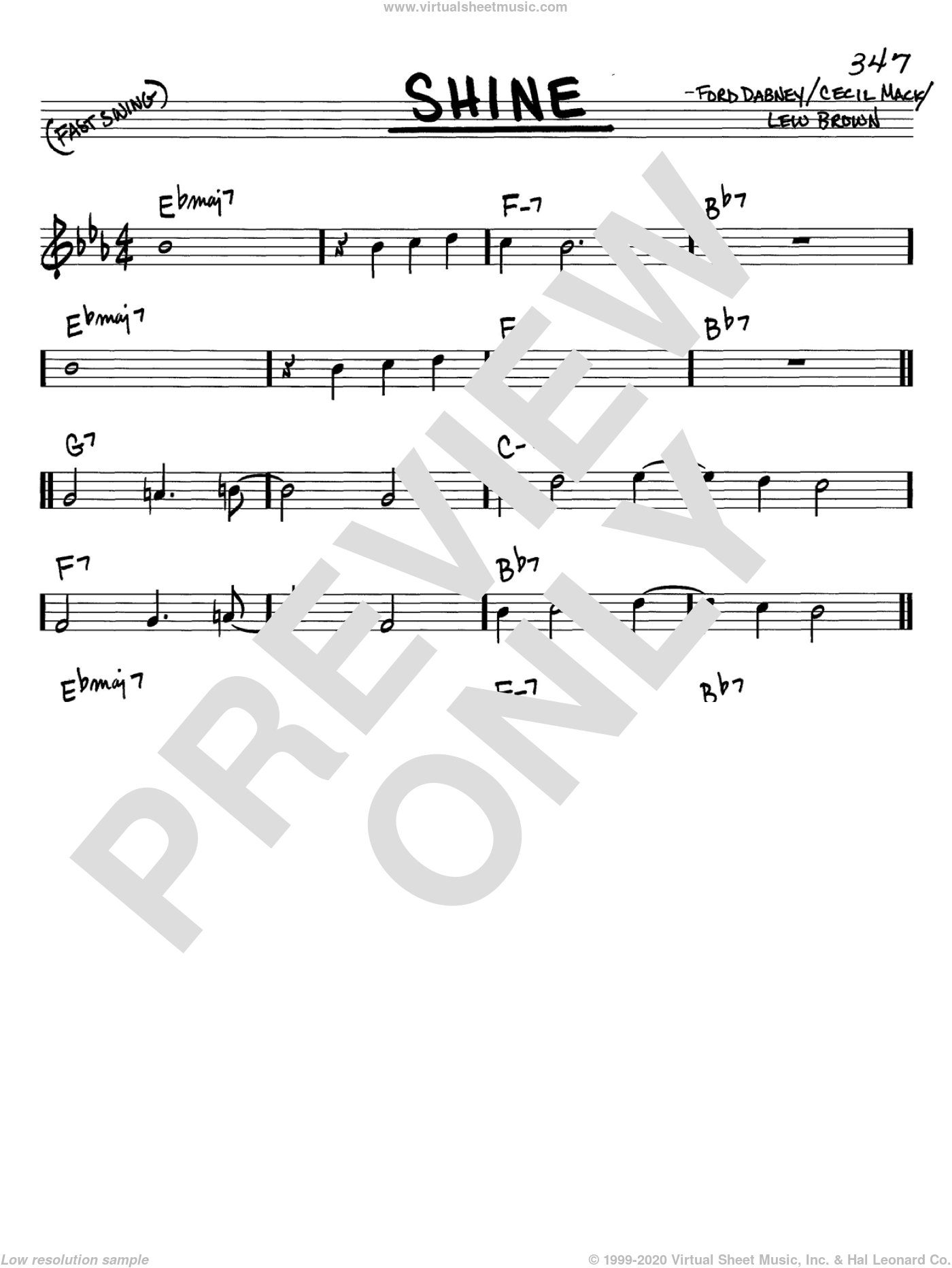Shine sheet music for voice and other instruments (C) by Ford Dabney