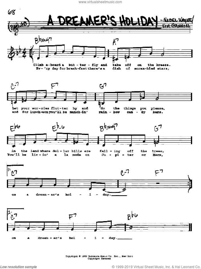 A Dreamer's Holiday sheet music for voice and other instruments (Vocal Volume 2) by Mabel Wayne and Kim Gannon, intermediate. Score Image Preview.