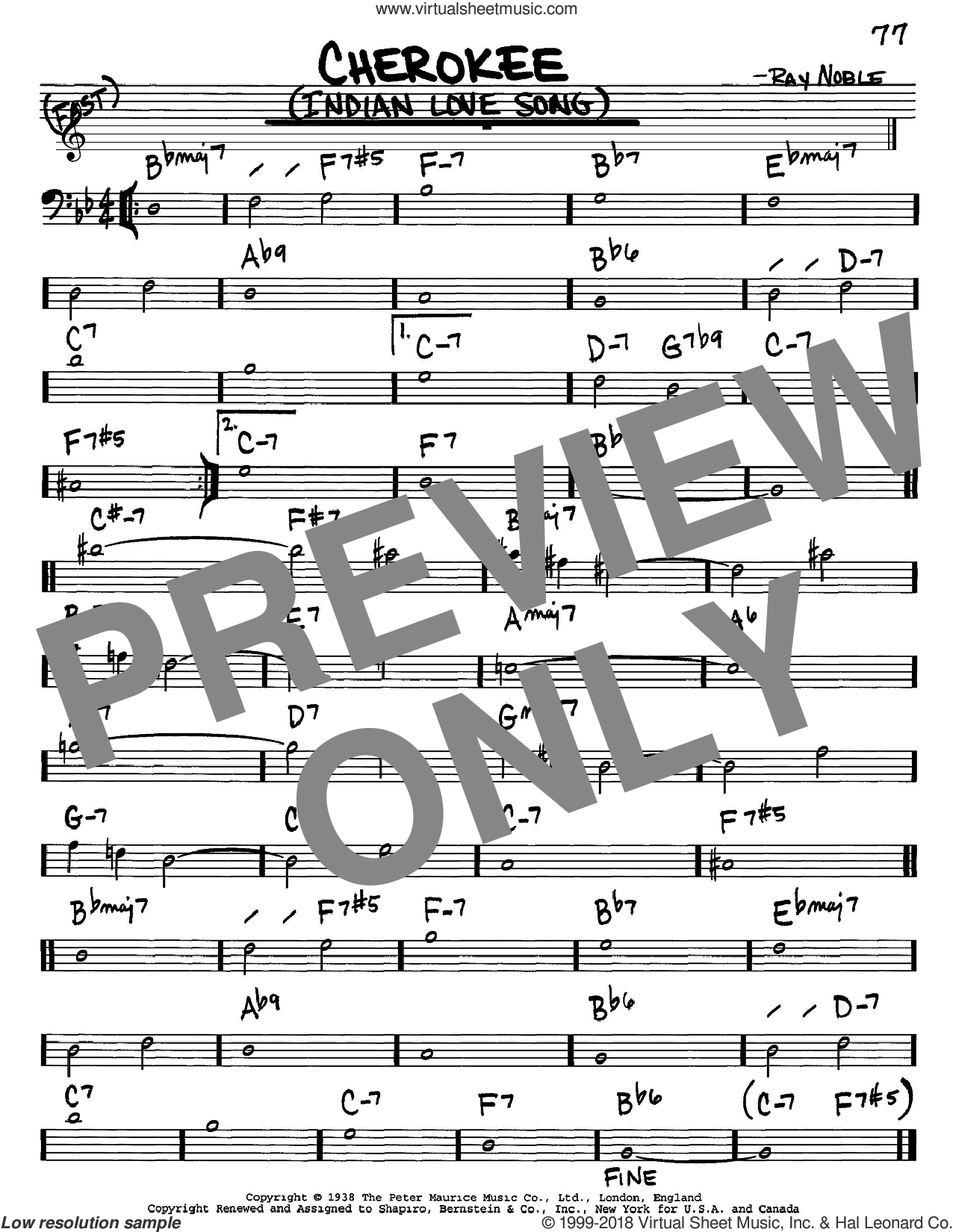 Cherokee (Indian Love Song) sheet music for voice and other instruments (Bass Clef ) by Ray Noble and Benny Goodman Sextet. Score Image Preview.