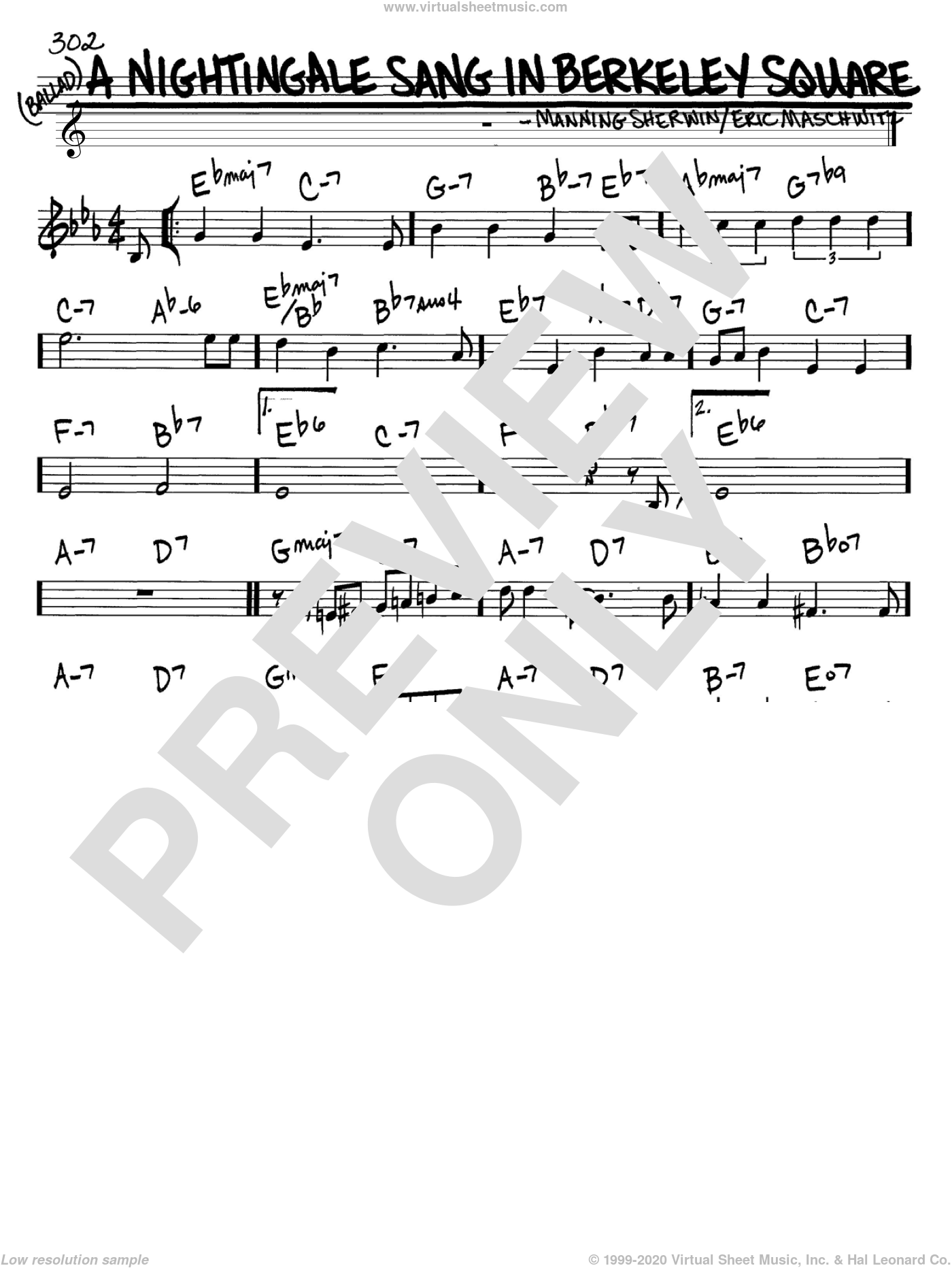A Nightingale Sang In Berkeley Square sheet music for voice and other instruments (C) by Manning Sherwin and Manhattan Transfer. Score Image Preview.