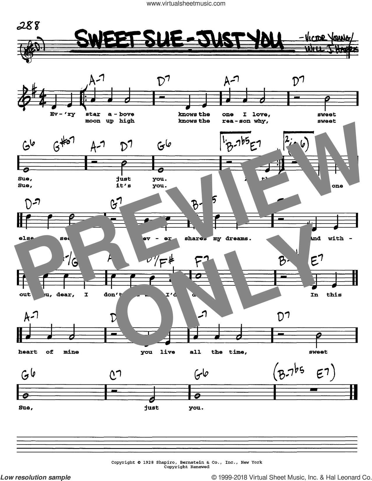 Sweet Sue-Just You sheet music for voice and other instruments (Vocal Volume 1) by Will J. Harris and Victor Young, intermediate voice. Score Image Preview.