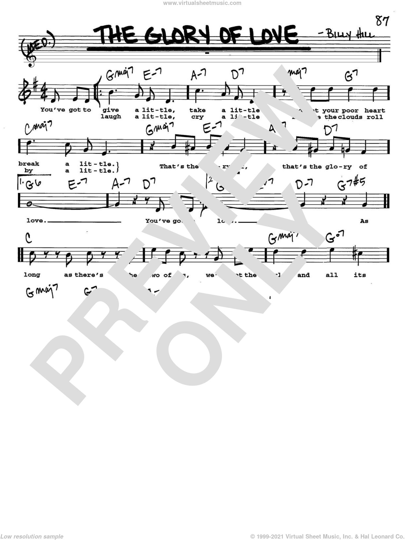 The Glory Of Love sheet music for voice and other instruments  by Count Basie, Jimmy Durante, Peggy Lee and The Platters, intermediate. Score Image Preview.
