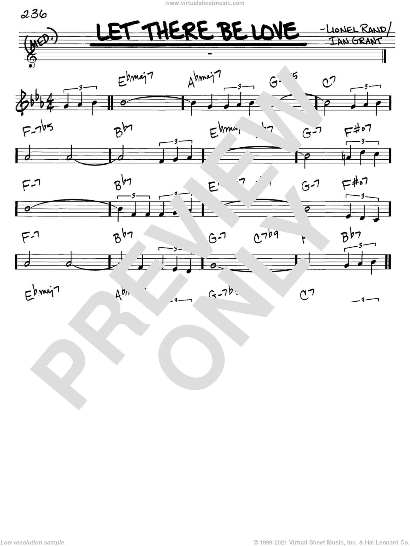 Let There Be Love sheet music for voice and other instruments (in C) by Ian Grant and Lionel Rand, intermediate