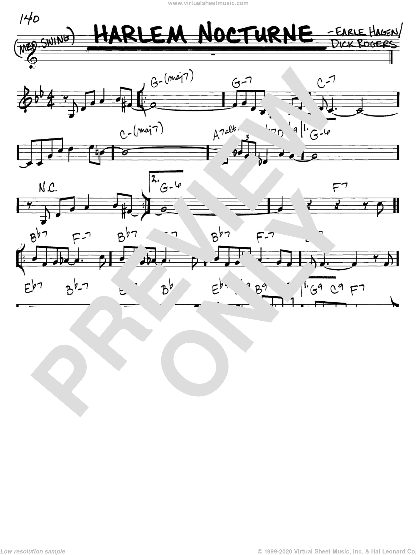 Harlem Nocturne sheet music for voice and other instruments (C) by Dick Rogers and Earle Hagen. Score Image Preview.