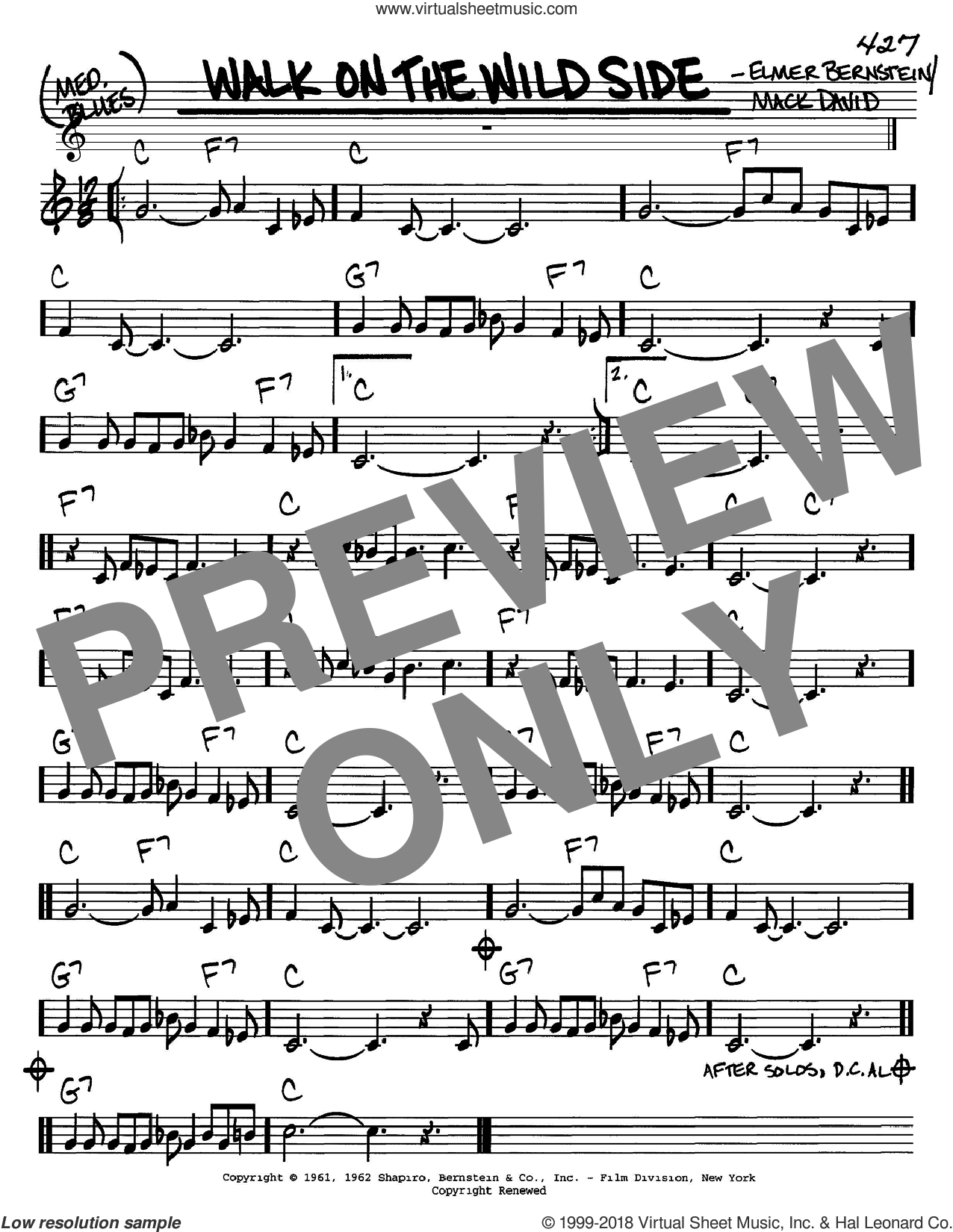 Walk On The Wild Side sheet music for voice and other instruments (C) by Mack David and Elmer Bernstein, intermediate voice. Score Image Preview.