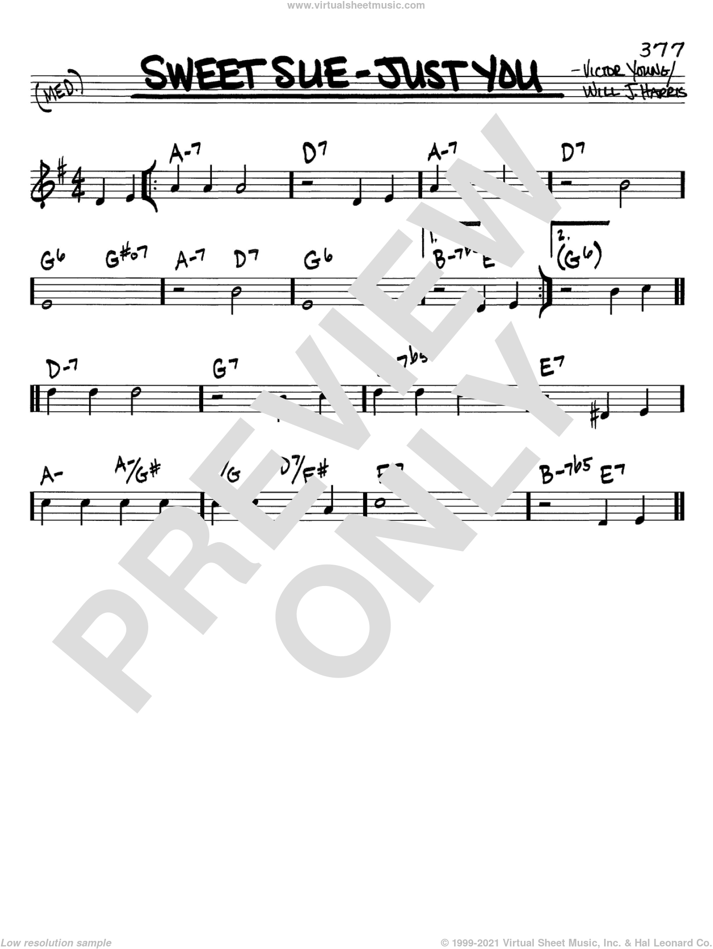 Sweet Sue-Just You sheet music for voice and other instruments (C) by Will J. Harris and Victor Young, intermediate voice. Score Image Preview.