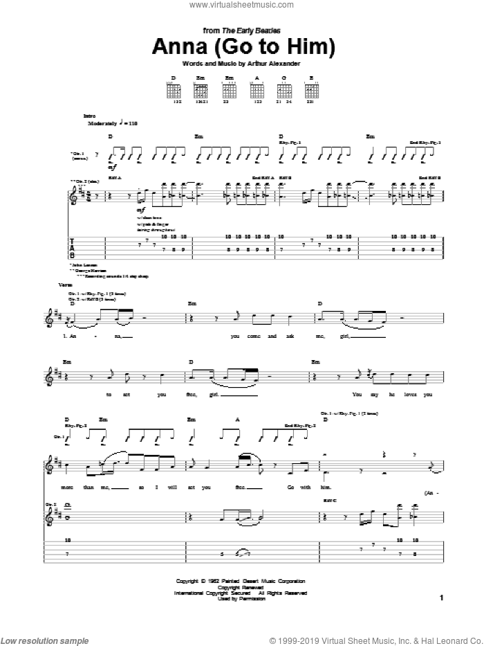 Anna (Go To Him) sheet music for guitar (tablature) by The Beatles and Arthur Alexander. Score Image Preview.