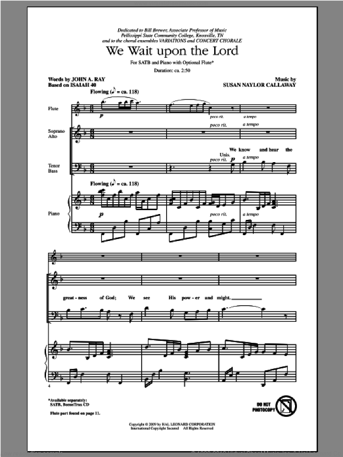 We Wait Upon The Lord sheet music for choir (SATB: soprano, alto, tenor, bass) by Susan Naylor Callaway and John Ray, intermediate skill level