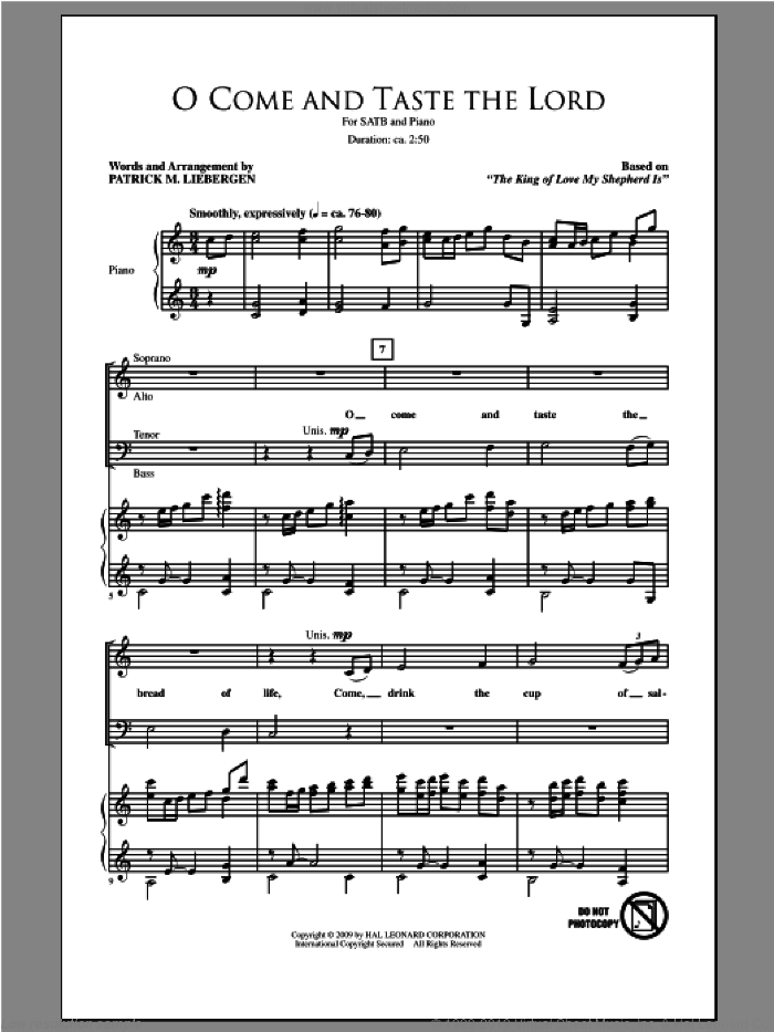 O Come And Taste The Lord sheet music for choir (SATB: soprano, alto, tenor, bass) by Patrick Liebergen, intermediate skill level