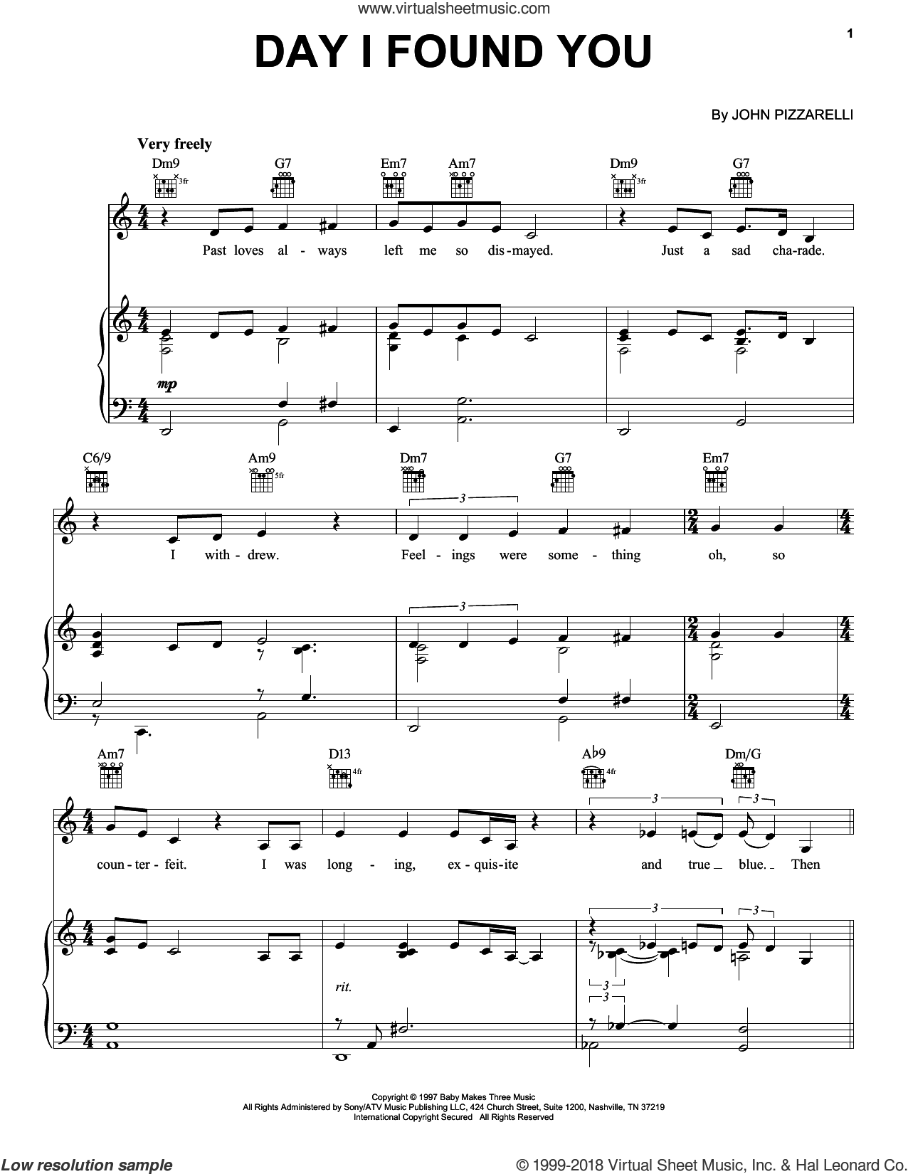 Day I Found You sheet music for voice, piano or guitar by John Pizzarelli, intermediate skill level