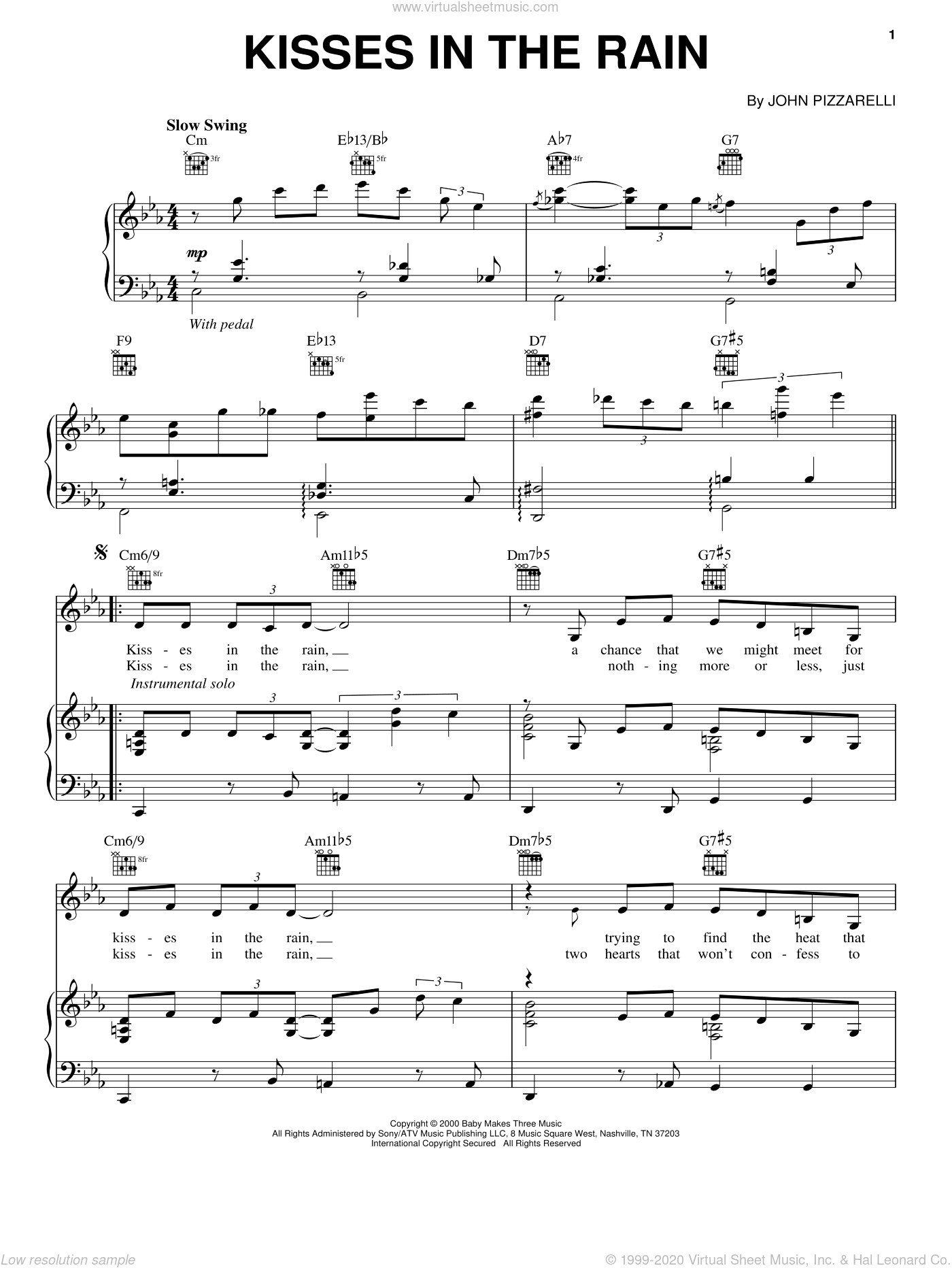 Kisses In The Rain sheet music for voice, piano or guitar by John Pizzarelli. Score Image Preview.
