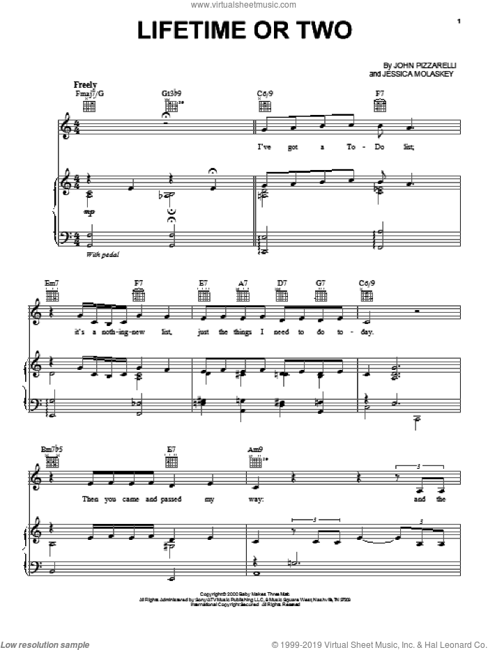 Lifetime Or Two sheet music for voice, piano or guitar by Jessica Molaskey