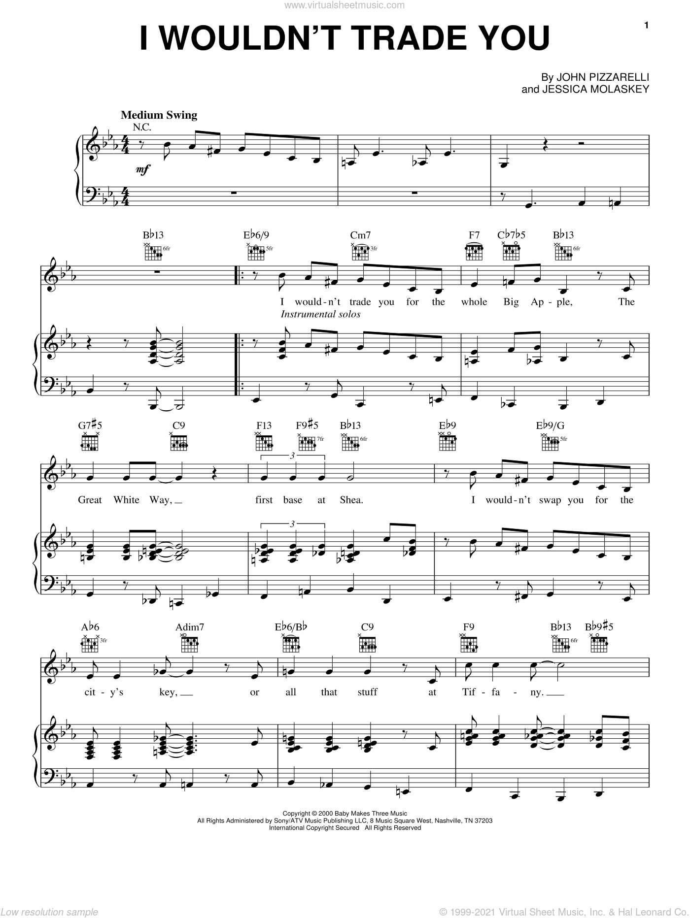 I Wouldn't Trade You sheet music for voice, piano or guitar by Jessica Molaskey