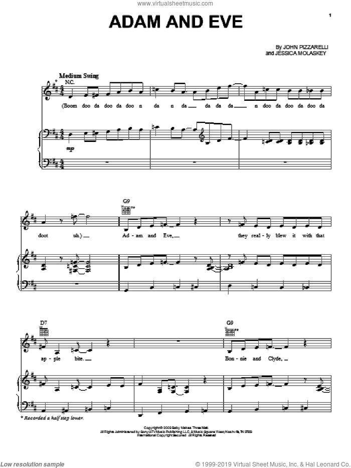 Adam And Eve sheet music for voice, piano or guitar by Jessica Molaskey