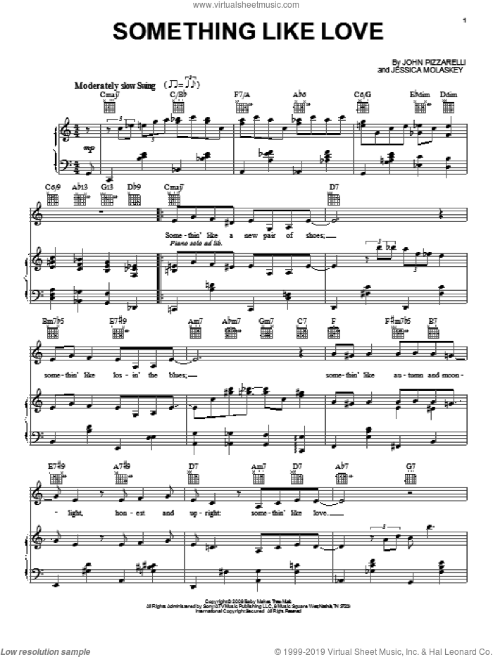 Something Like Love sheet music for voice, piano or guitar by Jessica Molaskey