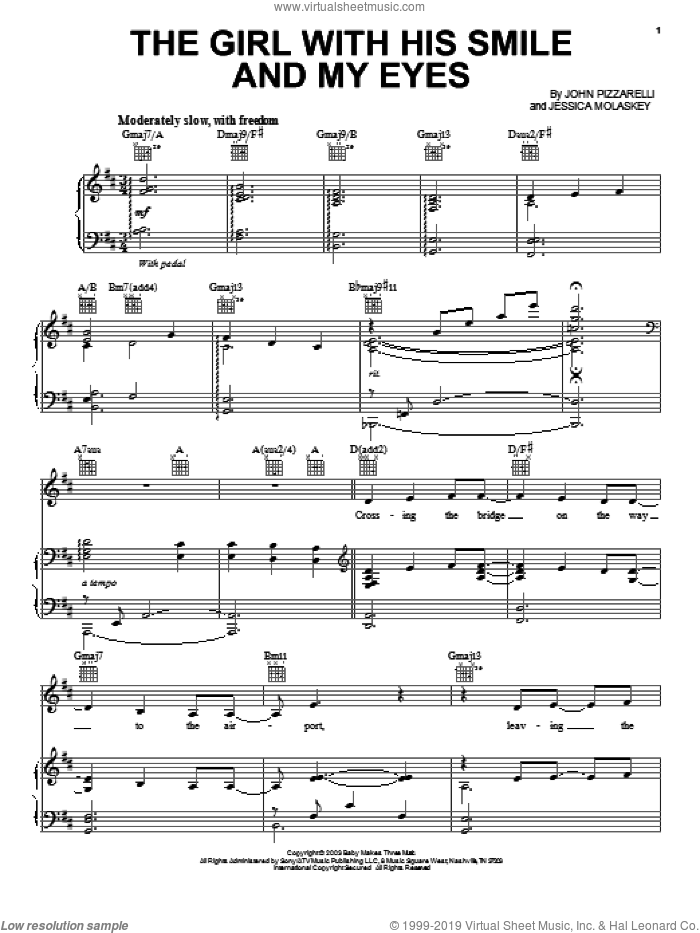 The Girl With His Smile And My Eyes sheet music for voice, piano or guitar by Jessica Molaskey