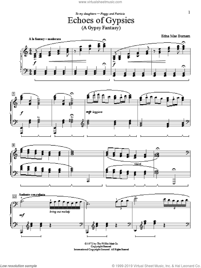 Echoes Of Gypsies sheet music for piano solo (elementary) by Edna Mae Burnam, beginner piano (elementary). Score Image Preview.