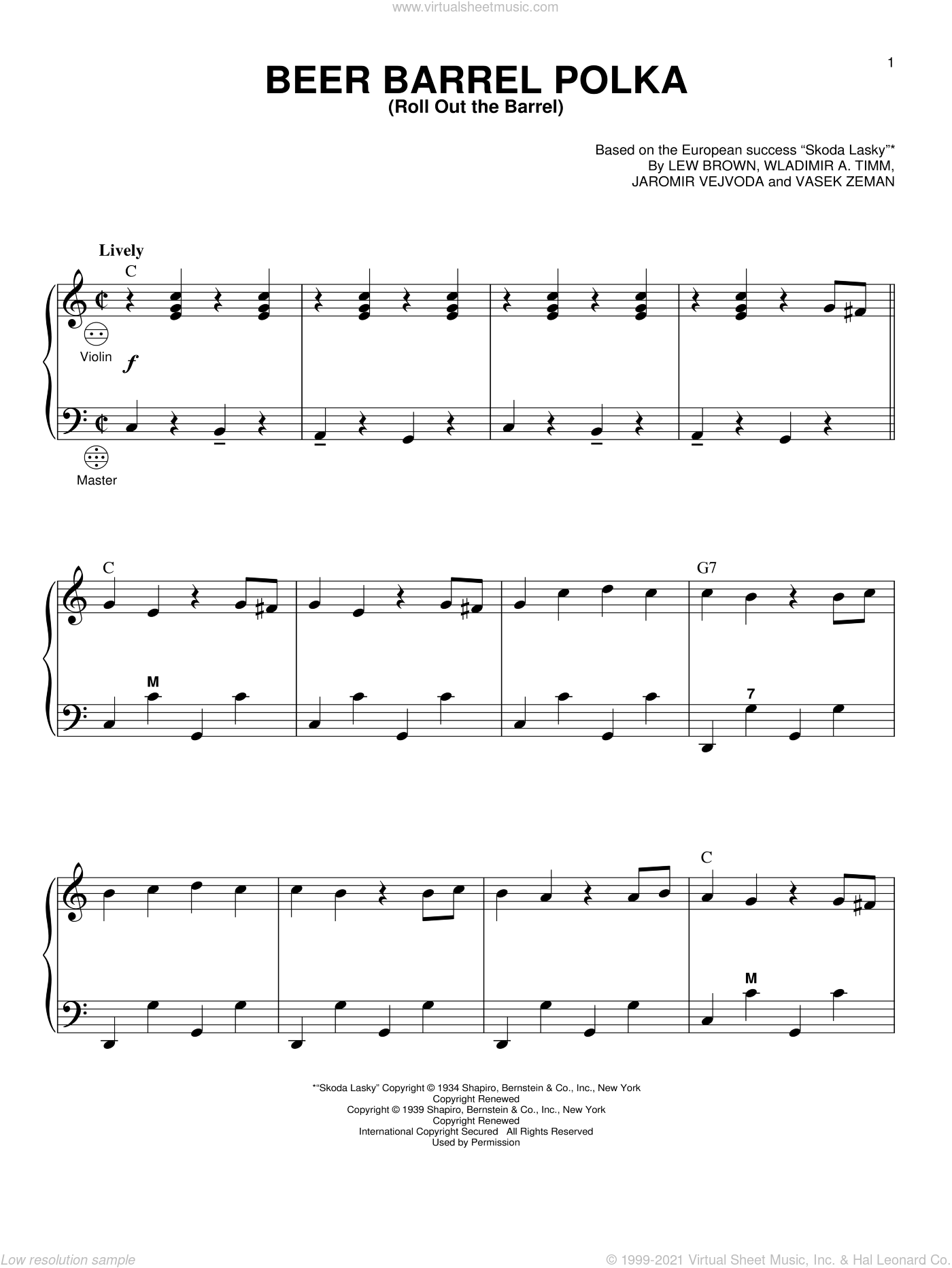Beer Barrel Polka (Roll Out The Barrel) sheet music for accordion by Wladimir A. Timm
