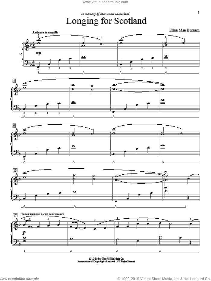 Longing For Scotland sheet music for piano solo (elementary) by Edna Mae Burnam, beginner piano (elementary). Score Image Preview.