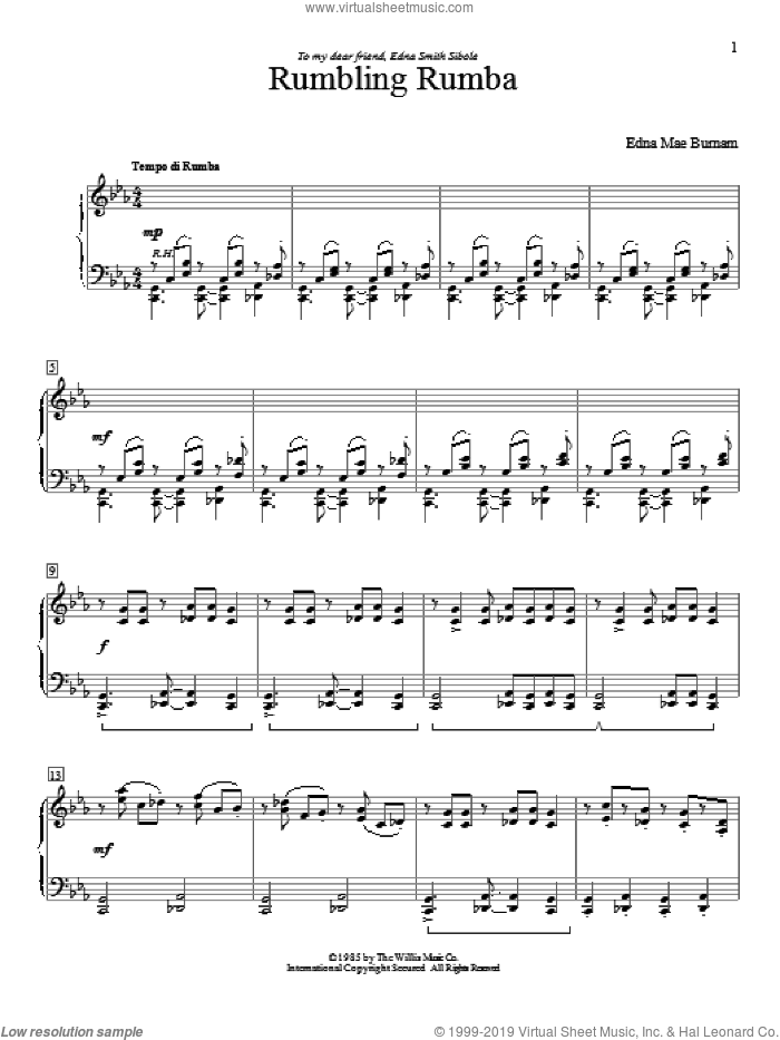 Rumbling Rumba sheet music for piano solo (elementary) by Edna Mae Burnam. Score Image Preview.