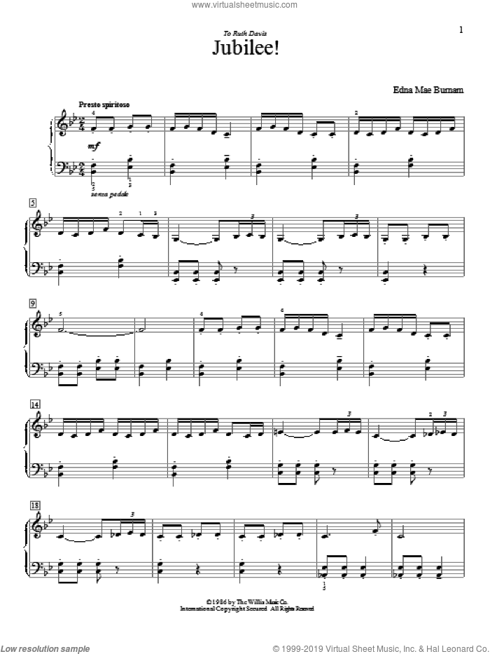 Jubilee! sheet music for piano solo (elementary) by Edna Mae Burnam, beginner piano (elementary)