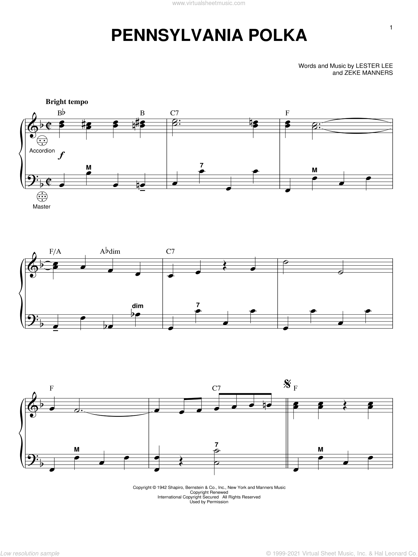 Pennsylvania Polka sheet music for accordion by Lester Lee and Zeke Manners, intermediate skill level
