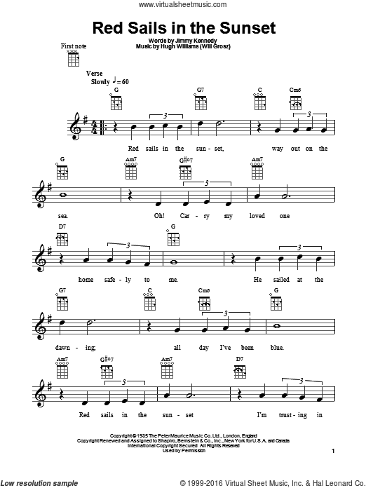 Red Sails In The Sunset sheet music for ukulele by Jimmy Kennedy