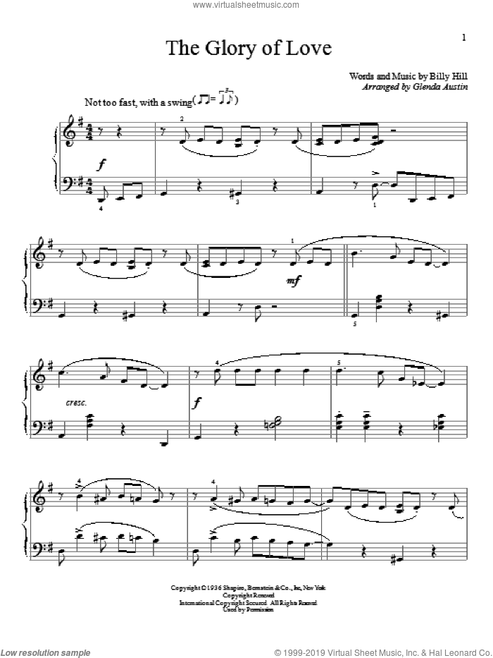 The Glory Of Love sheet music for piano solo (elementary) by Peggy Lee, Billy Hill, Count Basie, Glenda Austin and Jimmy Durante, beginner piano (elementary). Score Image Preview.