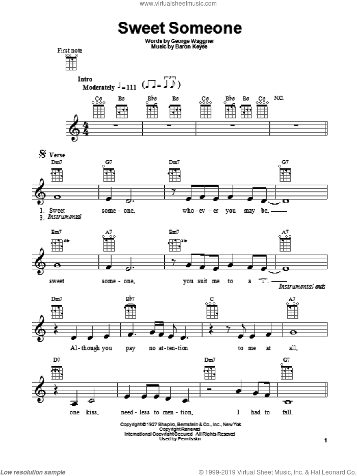 Sweet Someone sheet music for ukulele by Baron Keyes and George Waggner, intermediate skill level